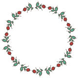 Round frame made of branches, leaves and berries Royalty Free Stock Photography