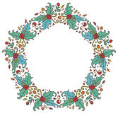 Round frame made of branches, leaves and berries Royalty Free Stock Images