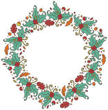 Round frame made of branches, leaves and berries Royalty Free Stock Image
