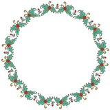 Round frame made of branches, leaves and berries Royalty Free Stock Photo