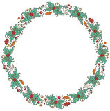 Round frame made of branches, leaves and berries Stock Image
