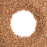 Round frame made of buckwheat Royalty Free Stock Photo