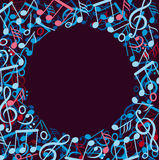 Round frame made of colorful music notes. Vector illustration of round frame made of colorful music notes Stock Images