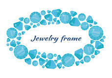 Round Frame Made of Diamonds. Jewelry round frame with space for text. Round frame made of blue shiny diamonds. Blue shiny diamonds on on white background Stock Photos