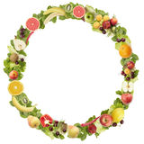 The round frame made of  fruits and vegetables Royalty Free Stock Photo