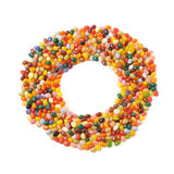 Round frame made of jelly beans isolated Royalty Free Stock Images
