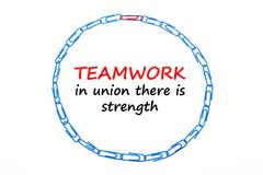 Round frame made of office clips isolated over the white background. Teamwork in union there is strength.  Stock Image