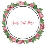 Round frame made of pink blooming roses vector illustration