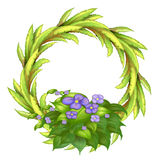 A round frame made of plants with violet flowers Stock Photography