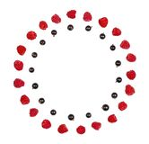 Round frame made of raspberry and black currant isolated on white background. Flat lay. Round frame made of raspberry and black currant isolated on white stock photography
