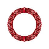Round frame made of realistic red rubies with complex cuts. Isolated on white background. Jewel and jewelry. Colorful gems and gemstones. Trilliant, pear, oval stock illustration
