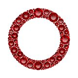 Round frame made of realistic red rubies with complex cuts. Isolated on white background. Jewel and jewelry. Colorful gems and gemstones. Magna, royal, zinnia vector illustration