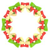 Round frame made of ribbon bows Stock Photos