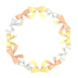 Round frame made of ribbon bows Royalty Free Stock Images