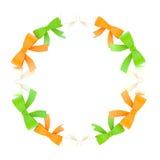 Round frame made of ribbon bows Stock Photos