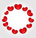 Round frame made in smiling hearts for Valentines Day Stock Images