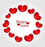Round frame made in smiling hearts for Valentines Day Royalty Free Stock Image