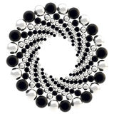 Round frame made of spheres isolated. Round ornament circular frame made of black and silver spheres isolated on white royalty free illustration