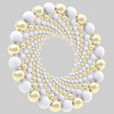 Round frame made of spheres isolated. Round ornament circular frame made of white and golden spheres isolated on grey royalty free illustration