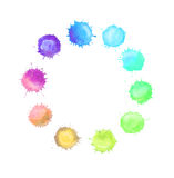 Round frame made of watercolor rainbow blobs Royalty Free Stock Photography