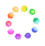 Round frame made of watercolor rainbow blobs Stock Image