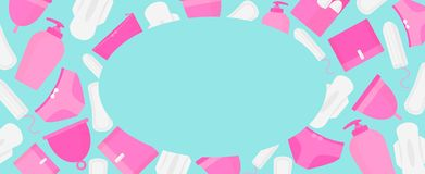 Round frame of menstruation time. Woman hygiene products - tampon, menstrual cup, sanitary stock illustration