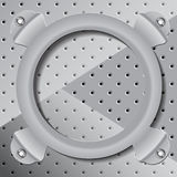Round frame on a metal surface. The circular frame fastened to the metal surface Stock Illustration