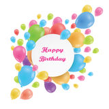 Round frame. Multicolored balloons.  Fun and festive design for. Round frame Happy Birthday. Multicolored balloons. Realistic image. Fun and festive design for Stock Photography