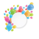 Round frame. Multicolored balloons. A realistic image. Round frame. Multicolored balloons. Realistic image. Fun and festive design for greeting card. Vector Royalty Free Stock Photos