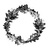 Round frame of oak leaves. Vector sketch graphics monochrome pattern