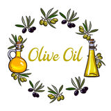 Round frame of olive branches and oil bottles with place for text Stock Images
