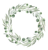 Round frame with olives and leaves. Watercolor illustration Stock Photo