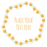 Round frame orange flover garland. Watercolor vector template Stock Photography