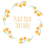 Round frame orange flover garland. Watercolor vector template Royalty Free Stock Images