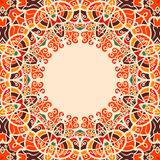 Round Frame Oriental Style Warm Color Stock Photography