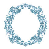 Round frame ornamental floral  blue color. Decorative round frame ornamental floral antique style vintage blue color vector illustration Stock Photography