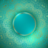 Round Frame at Ornamental Golden Background Stock Image