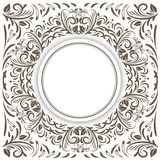 Round Frame Over Floral Royalty Free Stock Image