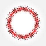 Round frame painted by spraying. Flower outline. Grunge. Royalty Free Stock Photo
