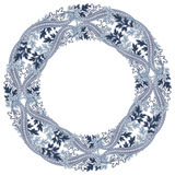Round frame with paisley motifs. Floral eastern background. Royalty Free Stock Image