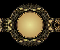 Round frame with paisley motifs. Floral eastern background. Stock Photo