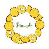 Round frame of peeled and unpeeled pineapple slices Royalty Free Stock Images