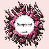 Round frame with pink cherry blossom and text Royalty Free Stock Images