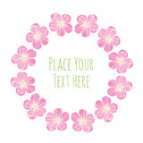 Round frame pink delicate flowers garland. Watercolor vector template stock illustration