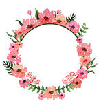 Round Frame with Pink Flowers and Deep Green Leaves Royalty Free Stock Photos