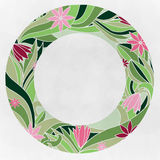Round frame with a pink flowers Royalty Free Stock Photos