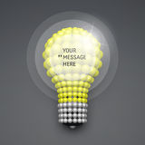 Round Frame with Place for Text. Lightbulb. 3D Idea Concept. Stock Photography