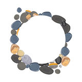 Round frame with realistic river stones. Vector illustration stock illustration