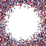 Round frame with red and blue glitters. Royalty Free Stock Images