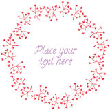 Round frame red branch heart leaves garland Stock Photography